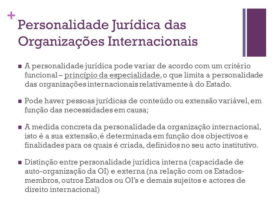 + Personalidade Jurídica das Organizações Internacionais A personalidade jurídica pode variar de acordo com um critério funcional – princípio da espec