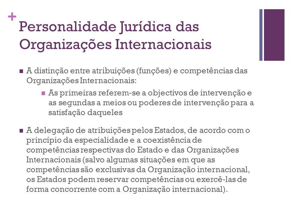 + Personalidade Jurídica das Organizações Internacionais A distinção entre atribuições (funções) e competências das Organizações Internacionais: As pr