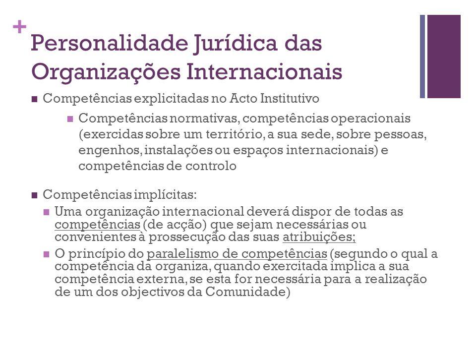+ Personalidade Jurídica das Organizações Internacionais Competências explicitadas no Acto Institutivo Competências normativas, competências operacion