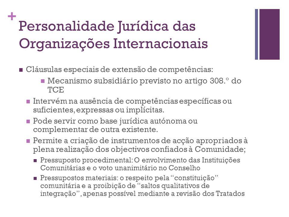 + Personalidade Jurídica das Organizações Internacionais Cláusulas especiais de extensão de competências: Mecanismo subsidiário previsto no artigo 308