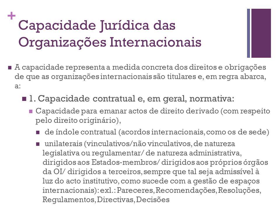 + Capacidade Jurídica das Organizações Internacionais A capacidade representa a medida concreta dos direitos e obrigações de que as organizações inter