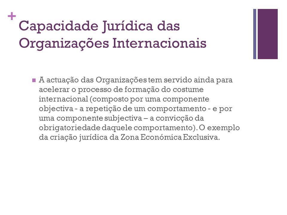 + Capacidade Jurídica das Organizações Internacionais A actuação das Organizações tem servido ainda para acelerar o processo de formação do costume in