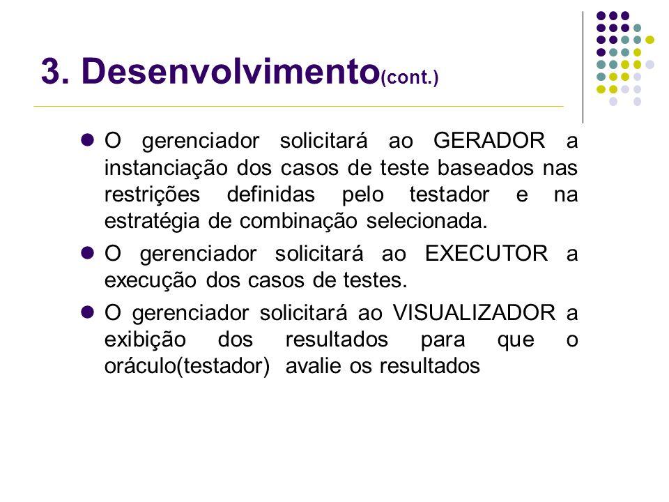 3. Desenvolvimento (cont.) O gerenciador solicitará ao GERADOR a instanciação dos casos de teste baseados nas restrições definidas pelo testador e na