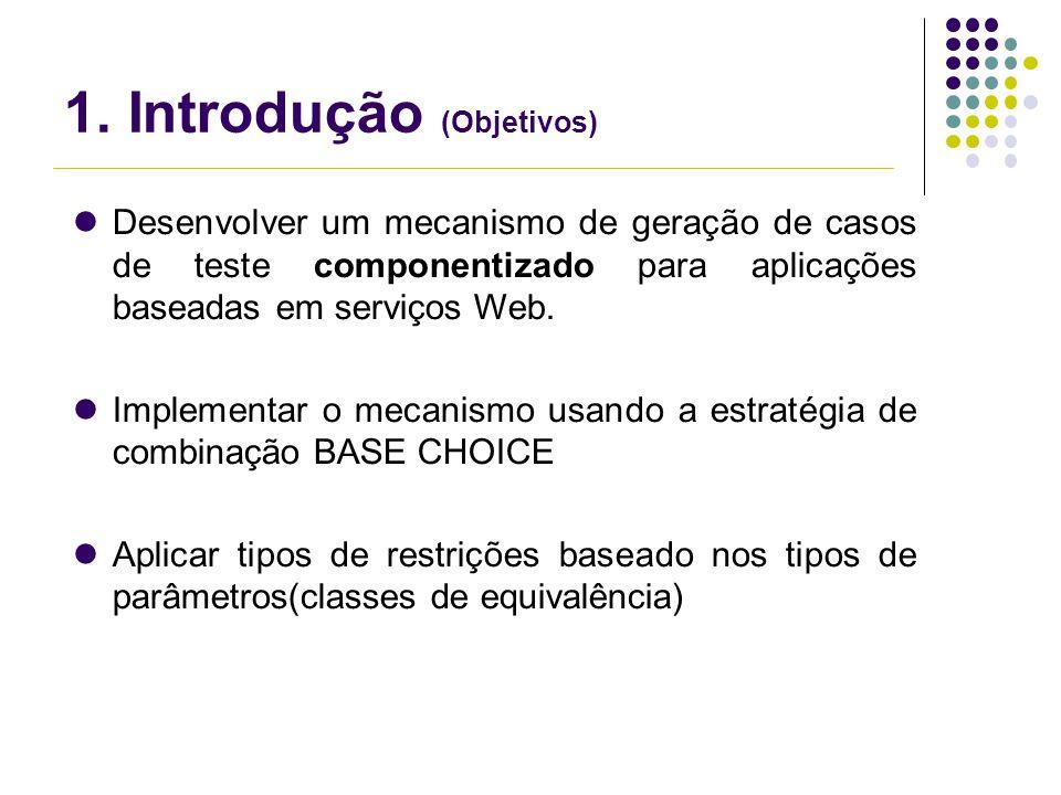 1. Introdução (Objetivos) Desenvolver um mecanismo de geração de casos de teste componentizado para aplicações baseadas em serviços Web. Implementar o