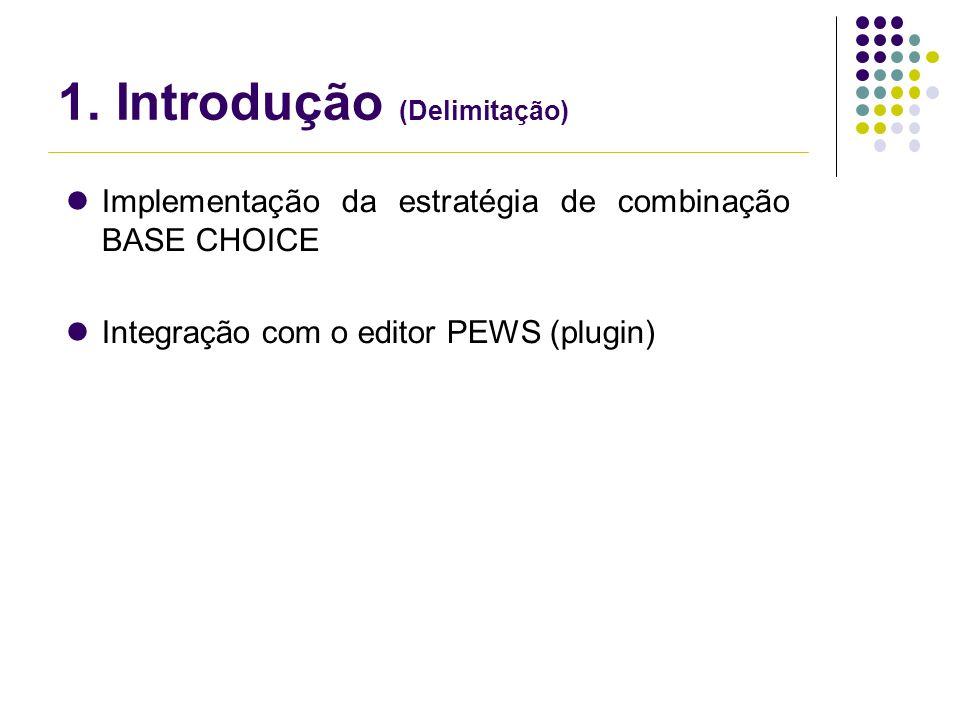 1. Introdução (Delimitação) Implementação da estratégia de combinação BASE CHOICE Integração com o editor PEWS (plugin)