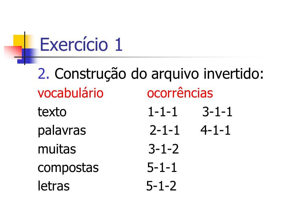 2.Construção do arquivo invertido: vocabulário ocorrências texto 1-1-1 3-1-1 palavras 2-1-1 4-1-1 muitas 3-1-2 compostas 5-1-1 letras 5-1-2 Exercício