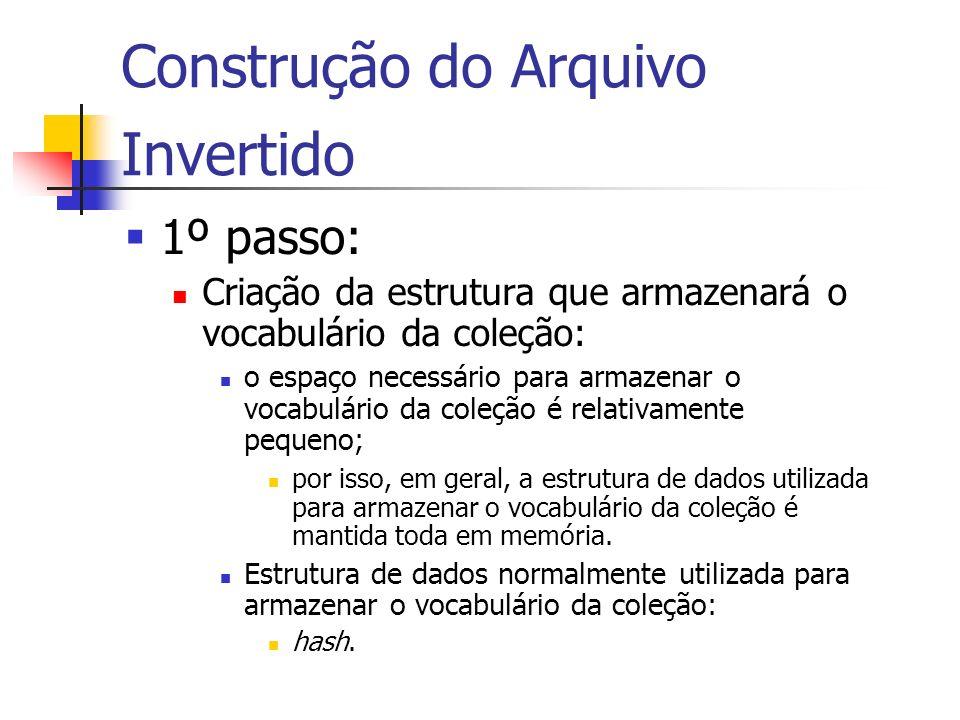 Construção do Arquivo Invertido 1º passo: Criação da estrutura que armazenará o vocabulário da coleção: o espaço necessário para armazenar o vocabulár