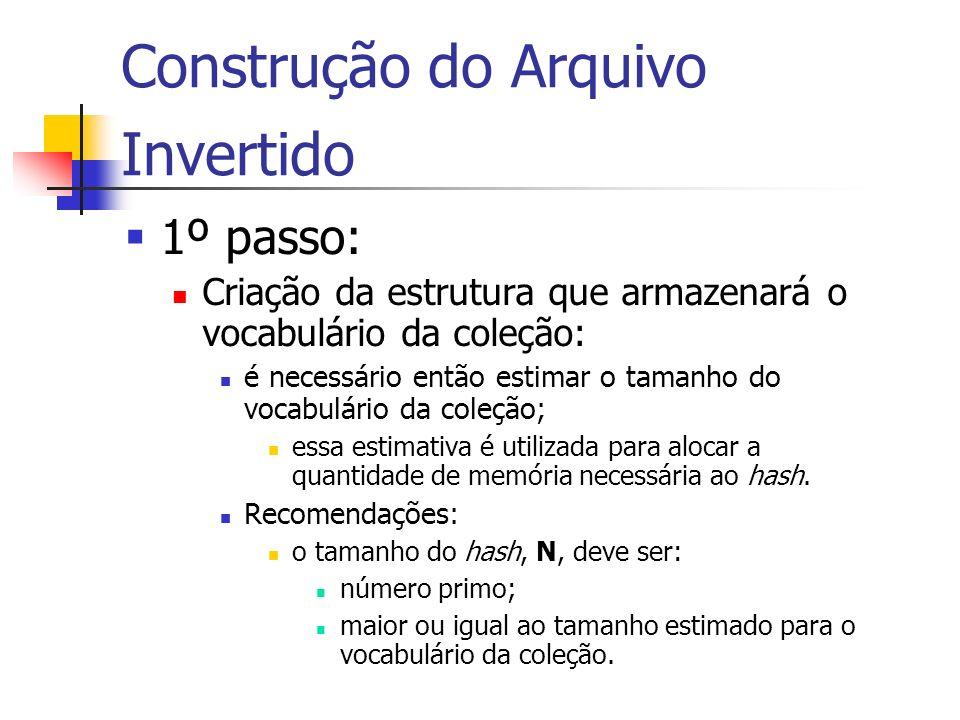 Construção do Arquivo Invertido 1º passo: Criação da estrutura que armazenará o vocabulário da coleção: é necessário então estimar o tamanho do vocabu