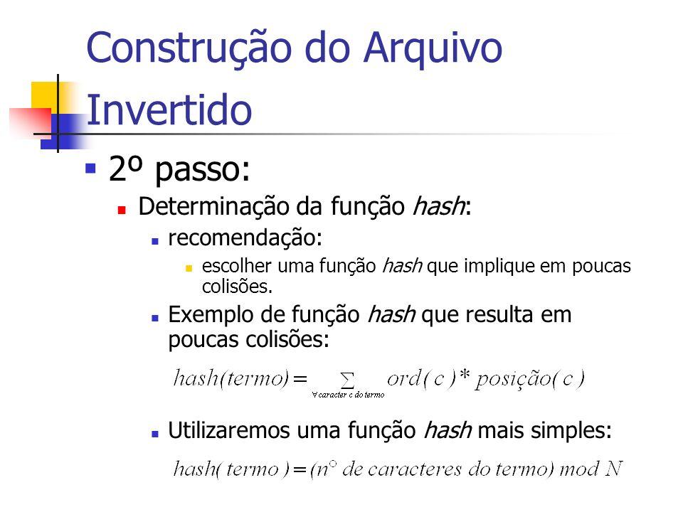 Construção do Arquivo Invertido 2º passo: Determinação da função hash: recomendação: escolher uma função hash que implique em poucas colisões. Exemplo