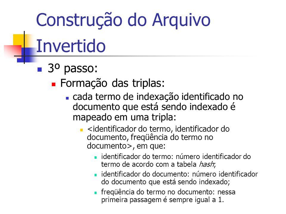 Construção do Arquivo Invertido 3º passo: Formação das triplas: cada termo de indexação identificado no documento que está sendo indexado é mapeado em