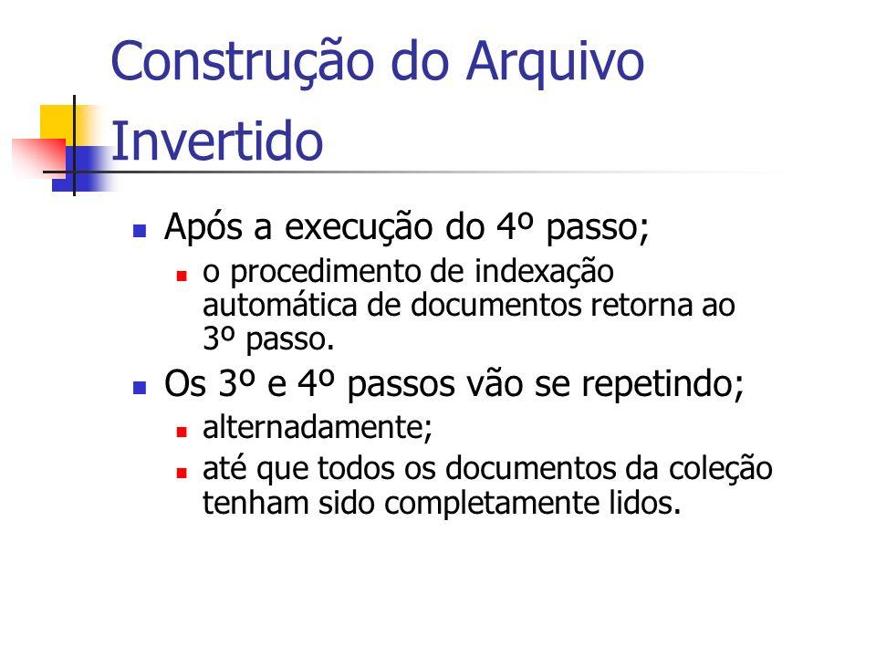Construção do Arquivo Invertido Após a execução do 4º passo; o procedimento de indexação automática de documentos retorna ao 3º passo. Os 3º e 4º pass
