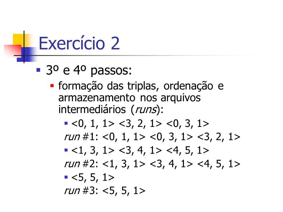 3º e 4º passos: formação das triplas, ordenação e armazenamento nos arquivos intermediários (runs): run #1: run #2: run #3: Exercício 2