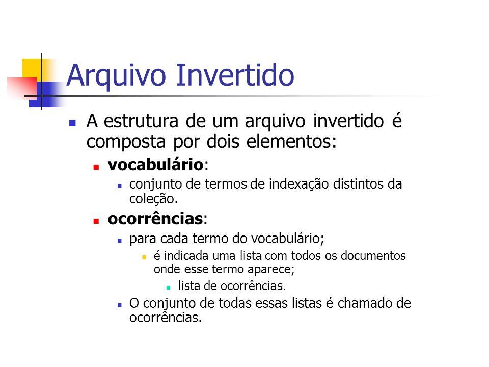 Arquivo Invertido A estrutura de um arquivo invertido é composta por dois elementos: vocabulário: conjunto de termos de indexação distintos da coleção