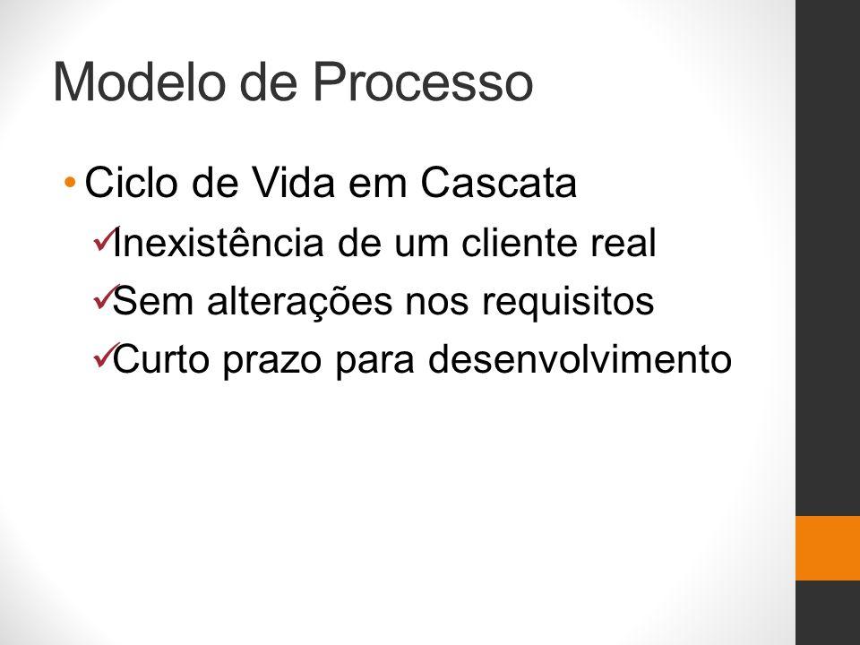 Modelo de Processo Ciclo de Vida em Cascata Inexistência de um cliente real Sem alterações nos requisitos Curto prazo para desenvolvimento