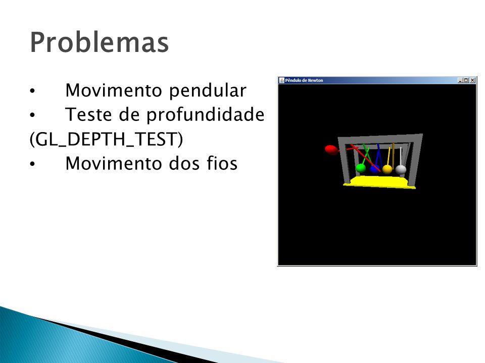 Problemas Movimento pendular Teste de profundidade (GL_DEPTH_TEST) Movimento dos fios