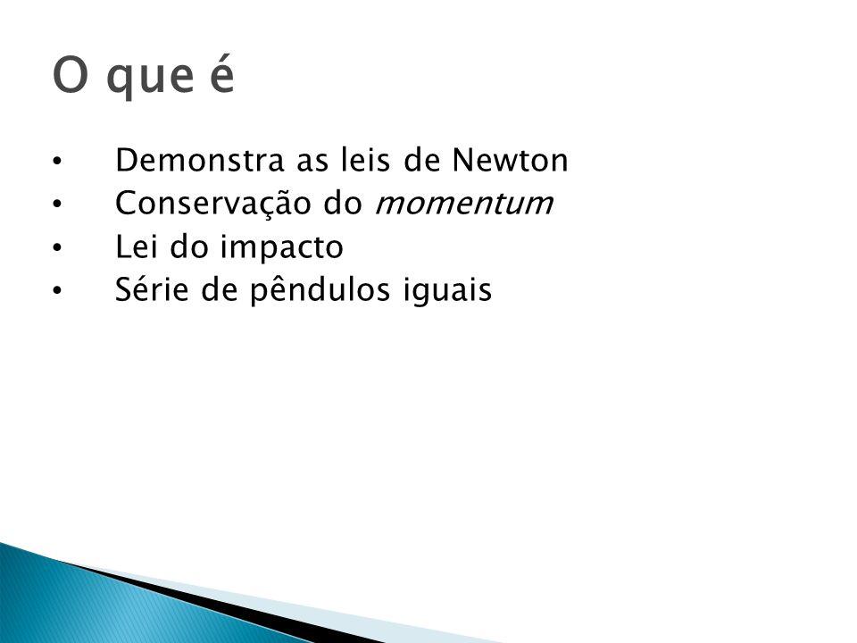 O que é Demonstra as leis de Newton Conservação do momentum Lei do impacto Série de pêndulos iguais