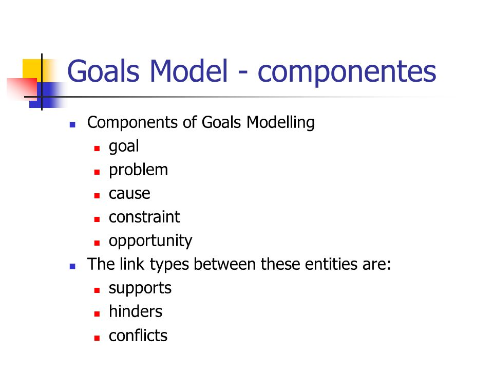 Goals Model - componentes Components of Goals Modelling goal problem cause constraint opportunity The link types between these entities are: supports