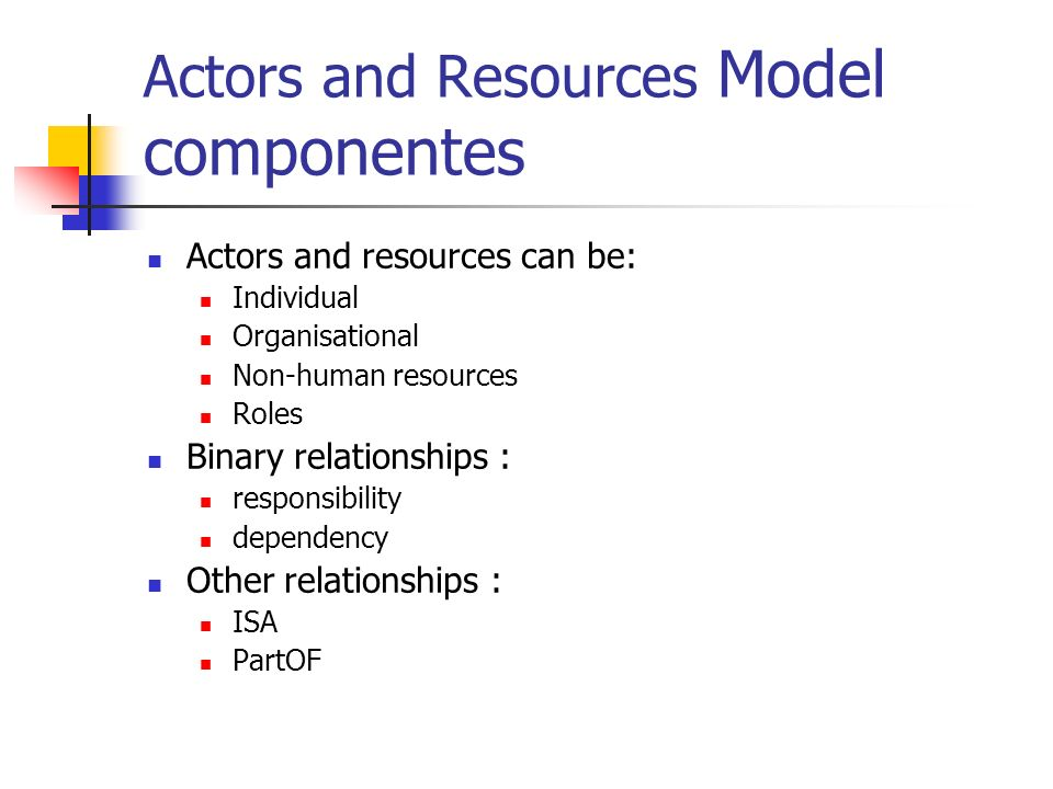 Actors and Resources Model componentes Actors and resources can be: Individual Organisational Non-human resources Roles Binary relationships : respons
