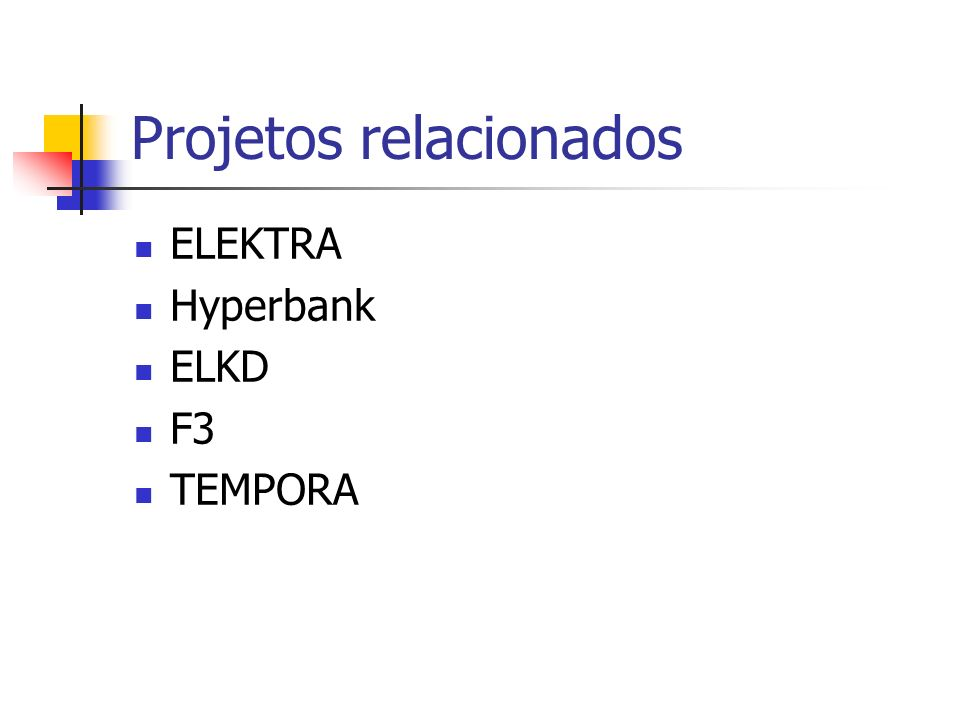 Projetos relacionados ELEKTRA Hyperbank ELKD F3 TEMPORA