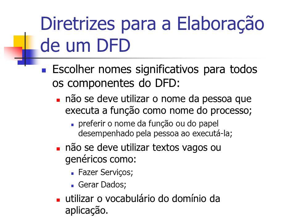 Diretrizes para a Elaboração de um DFD Escolher nomes significativos para todos os componentes do DFD: não se deve utilizar o nome da pessoa que execu