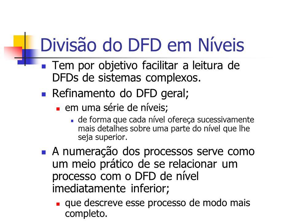 Divisão do DFD em Níveis Tem por objetivo facilitar a leitura de DFDs de sistemas complexos. Refinamento do DFD geral; em uma série de níveis; de form