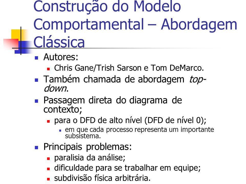 Construção do Modelo Comportamental – Abordagem Clássica Autores: Chris Gane/Trish Sarson e Tom DeMarco. Também chamada de abordagem top- down. Passag