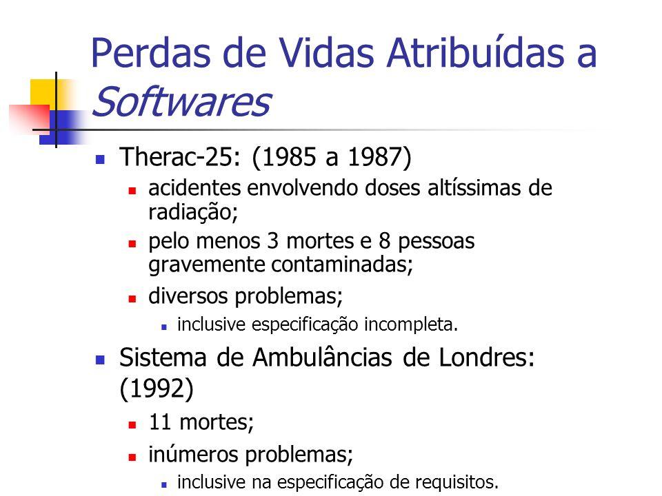 Perdas de Vidas Atribuídas a Softwares Therac-25: (1985 a 1987) acidentes envolvendo doses altíssimas de radiação; pelo menos 3 mortes e 8 pessoas gra