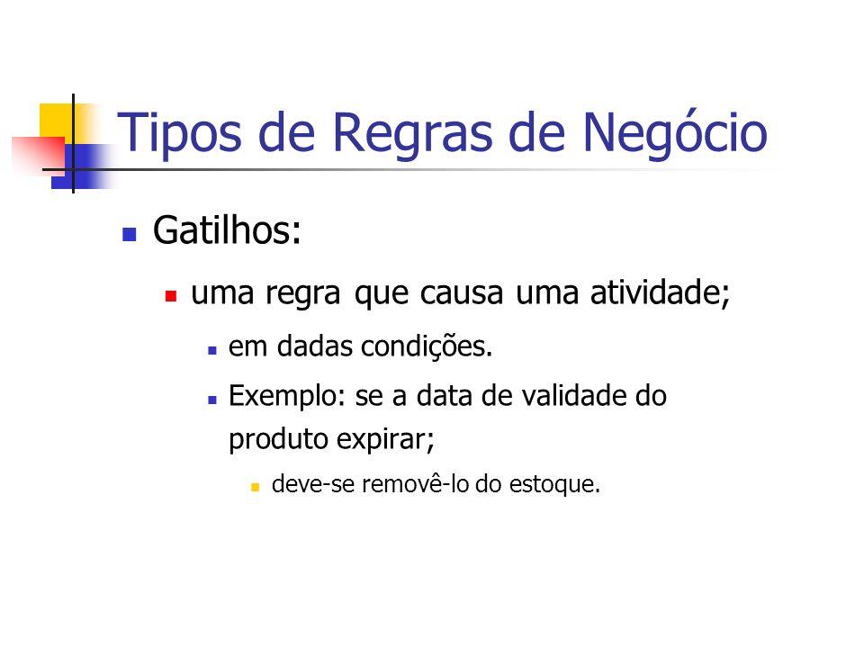 Tipos de Regras de Negócio Gatilhos: uma regra que causa uma atividade; em dadas condições. Exemplo: se a data de validade do produto expirar; deve-se