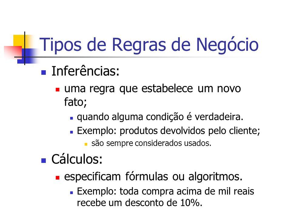 Tipos de Regras de Negócio Inferências: uma regra que estabelece um novo fato; quando alguma condição é verdadeira. Exemplo: produtos devolvidos pelo