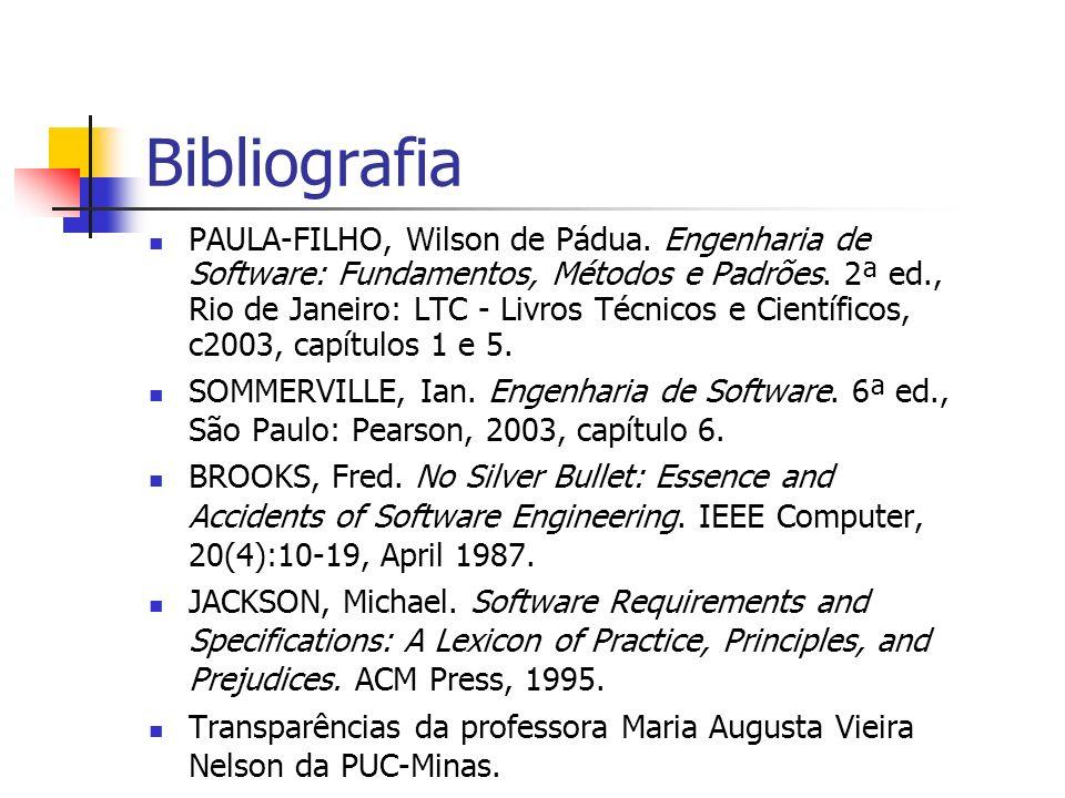 Bibliografia PAULA-FILHO, Wilson de Pádua. Engenharia de Software: Fundamentos, Métodos e Padrões. 2ª ed., Rio de Janeiro: LTC - Livros Técnicos e Cie
