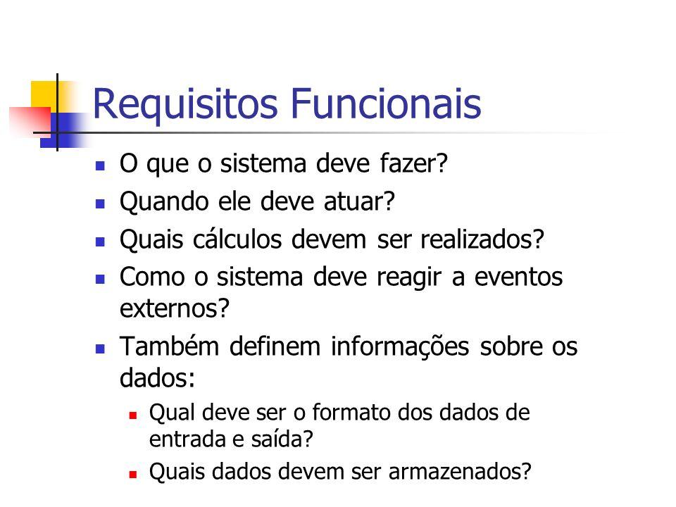 Requisitos Funcionais O que o sistema deve fazer? Quando ele deve atuar? Quais cálculos devem ser realizados? Como o sistema deve reagir a eventos ext