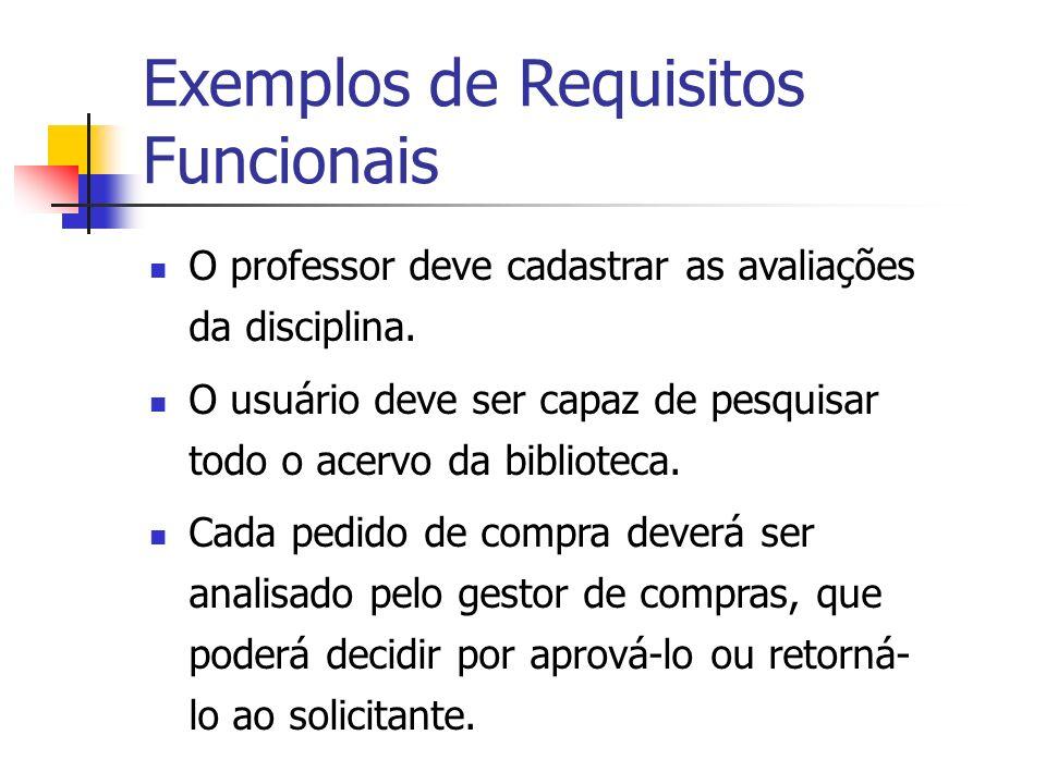 Exemplos de Requisitos Funcionais O professor deve cadastrar as avaliações da disciplina. O usuário deve ser capaz de pesquisar todo o acervo da bibli