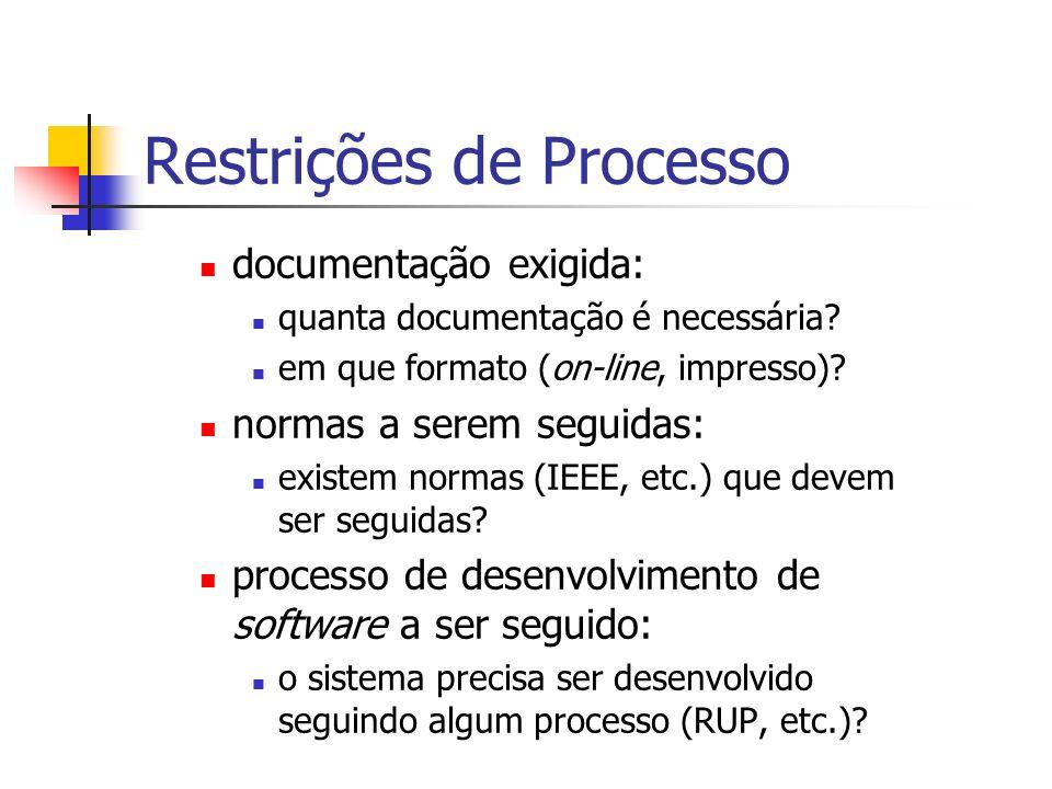 Restrições de Processo documentação exigida: quanta documentação é necessária? em que formato (on-line, impresso)? normas a serem seguidas: existem no