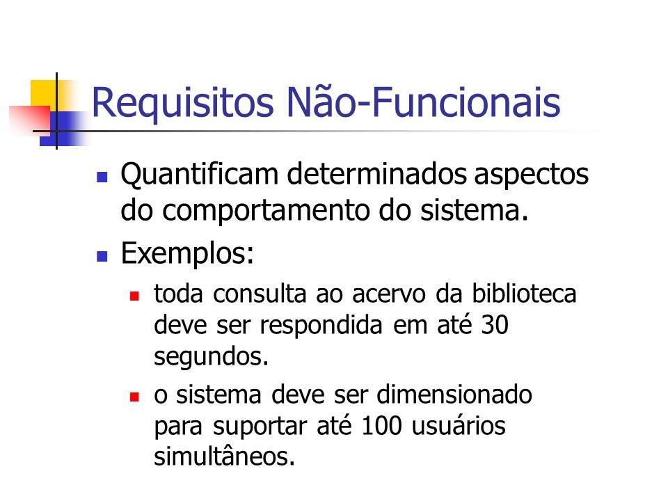 Requisitos Não-Funcionais Quantificam determinados aspectos do comportamento do sistema. Exemplos: toda consulta ao acervo da biblioteca deve ser resp