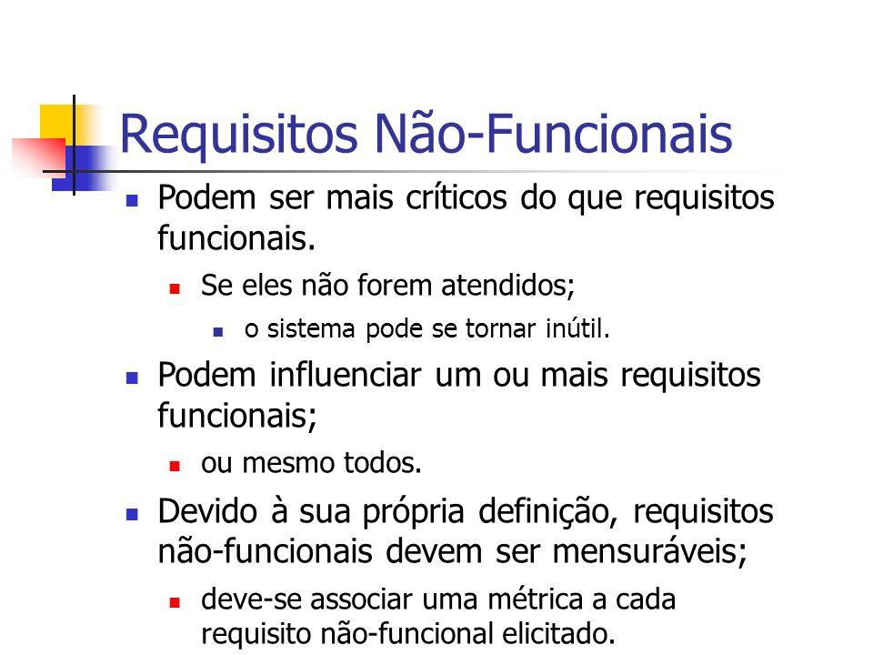 Requisitos Não-Funcionais Podem ser mais críticos do que requisitos funcionais. Se eles não forem atendidos; o sistema pode se tornar inútil. Podem in