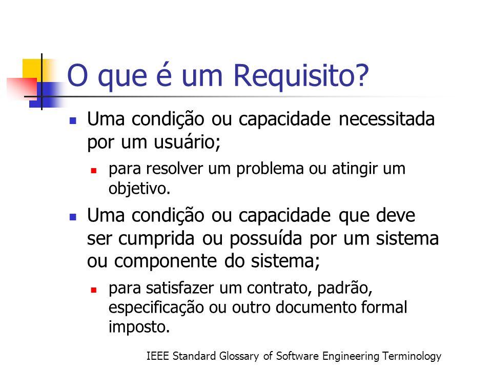 O que é um Requisito? Uma condição ou capacidade necessitada por um usuário; para resolver um problema ou atingir um objetivo. Uma condição ou capacid
