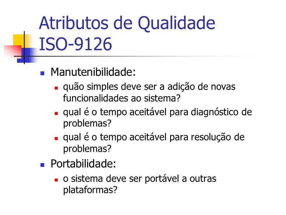 Atributos de Qualidade ISO-9126 Manutenibilidade: quão simples deve ser a adição de novas funcionalidades ao sistema? qual é o tempo aceitável para di