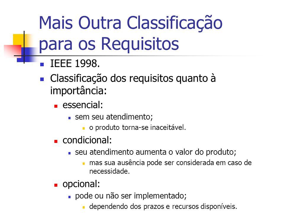 Mais Outra Classificação para os Requisitos IEEE 1998. Classificação dos requisitos quanto à importância: essencial: sem seu atendimento; o produto to