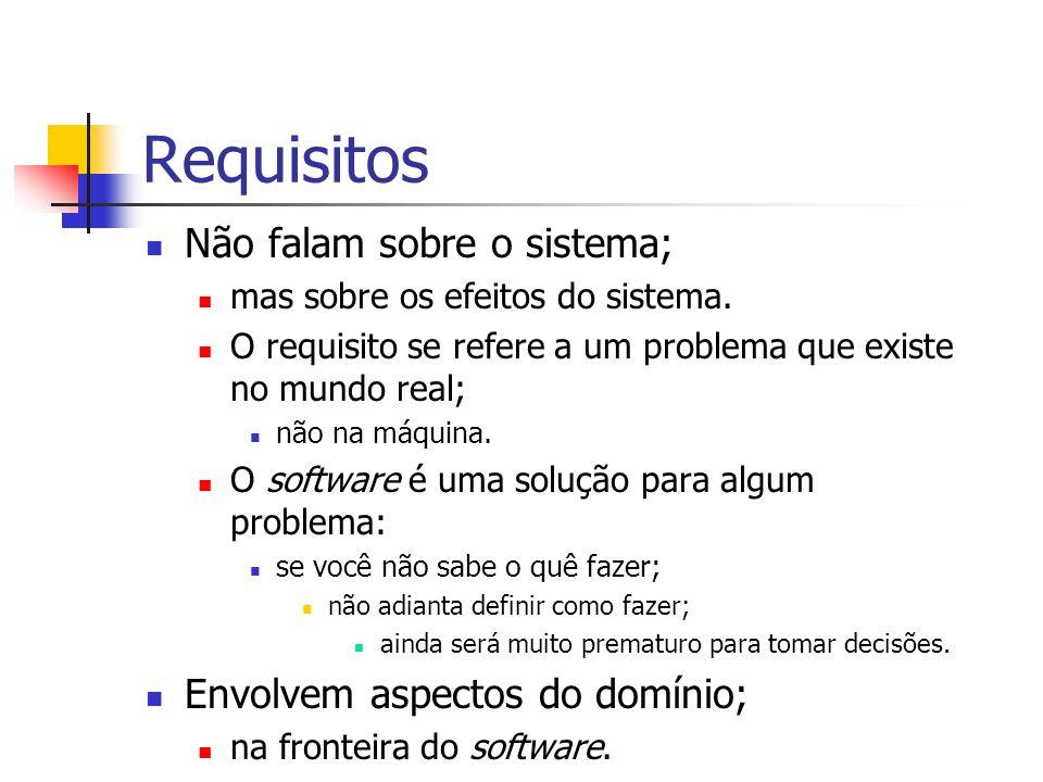 Requisitos Não falam sobre o sistema; mas sobre os efeitos do sistema. O requisito se refere a um problema que existe no mundo real; não na máquina. O