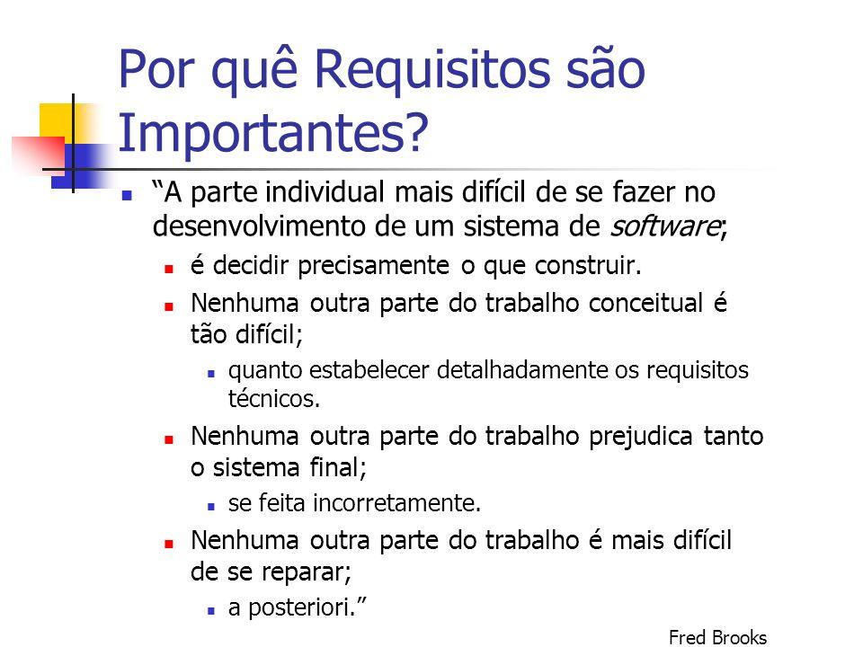 Por quê Requisitos são Importantes? A parte individual mais difícil de se fazer no desenvolvimento de um sistema de software; é decidir precisamente o