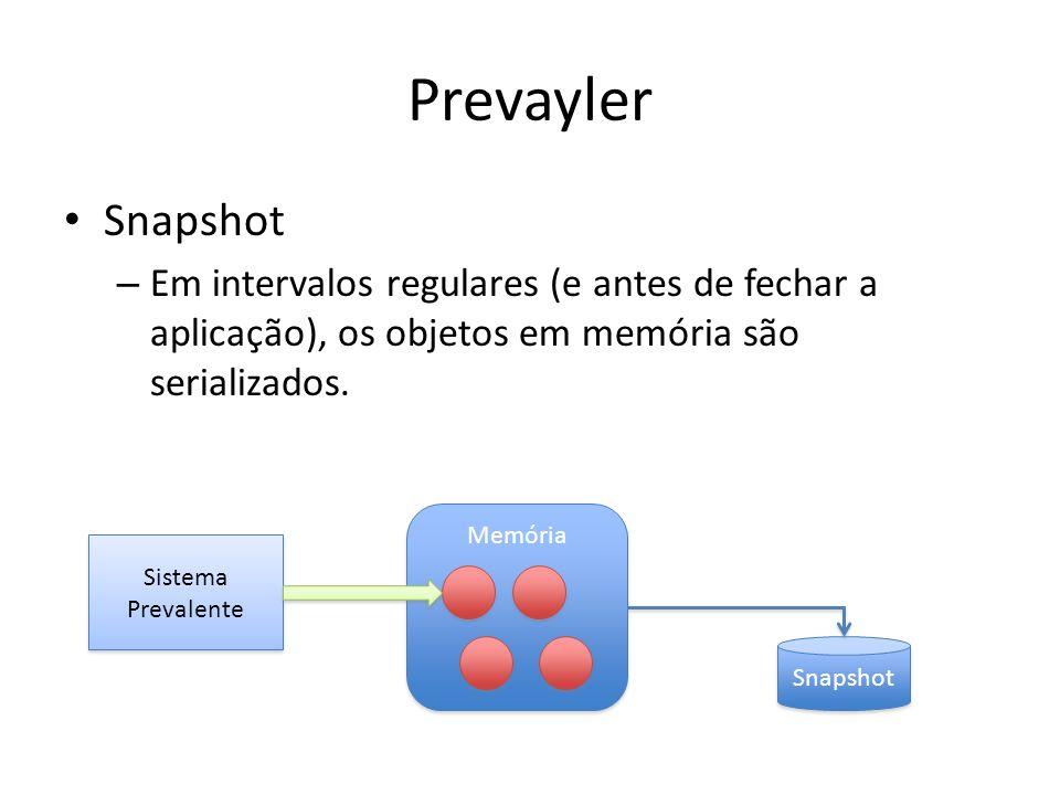 Prevayler Snapshot – Em intervalos regulares (e antes de fechar a aplicação), os objetos em memória são serializados. Sistema Prevalente Memória Snaps