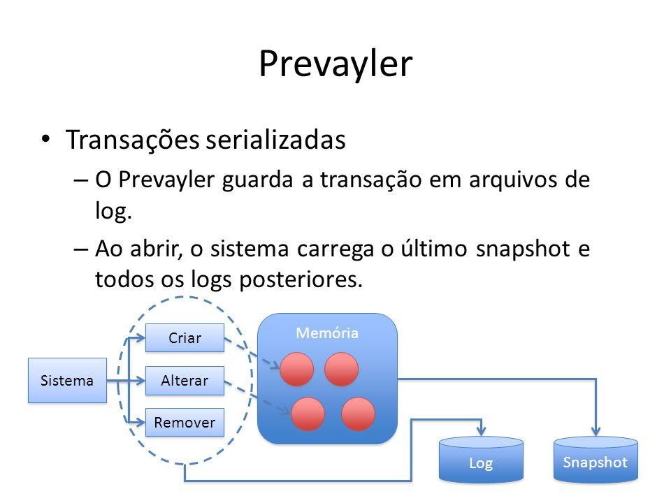 Prevayler Transações serializadas – O Prevayler guarda a transação em arquivos de log. – Ao abrir, o sistema carrega o último snapshot e todos os logs