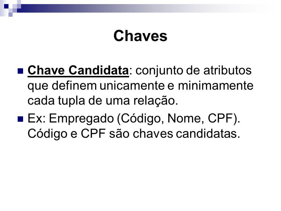Chaves Chave Candidata: conjunto de atributos que definem unicamente e minimamente cada tupla de uma relação. Ex: Empregado (Código, Nome, CPF). Códig