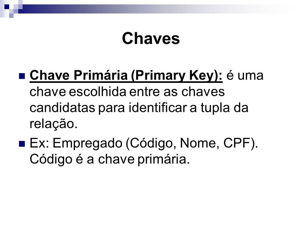 Chaves Chave Primária (Primary Key): é uma chave escolhida entre as chaves candidatas para identificar a tupla da relação. Ex: Empregado (Código, Nome