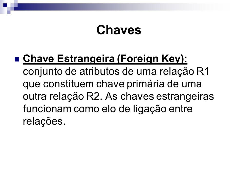 Chaves Chave Estrangeira (Foreign Key): conjunto de atributos de uma relação R1 que constituem chave primária de uma outra relação R2. As chaves estra