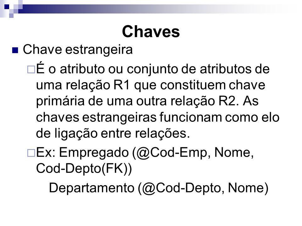 Chaves Chave estrangeira É o atributo ou conjunto de atributos de uma relação R1 que constituem chave primária de uma outra relação R2. As chaves estr