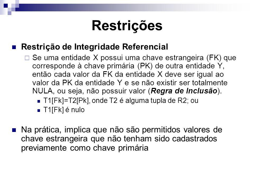 Restrições Restrição de Integridade Referencial Se uma entidade X possui uma chave estrangeira (FK) que corresponde à chave primária (PK) de outra ent