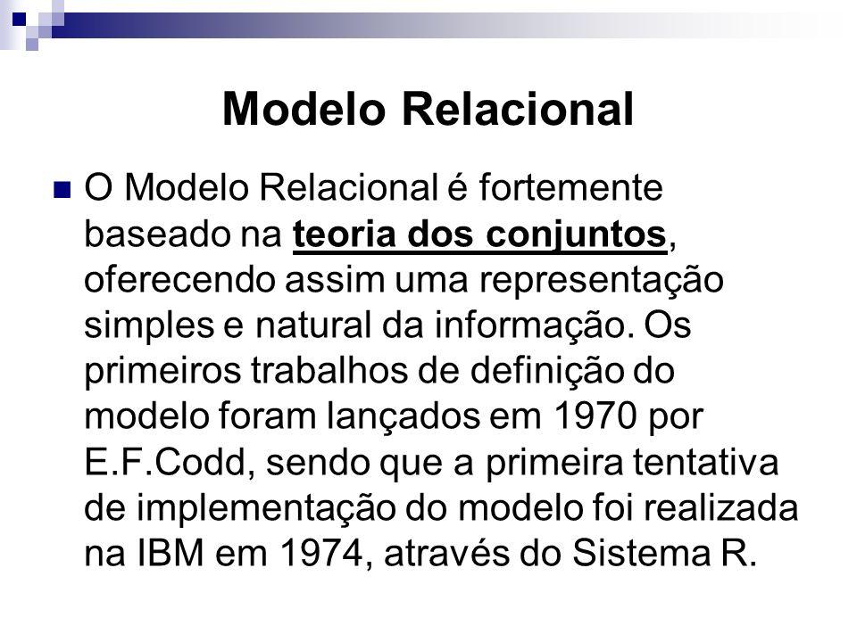 Modelo Relacional O Modelo Relacional é fortemente baseado na teoria dos conjuntos, oferecendo assim uma representação simples e natural da informação