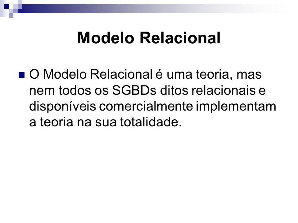 Modelo Relacional O Modelo Relacional é uma teoria, mas nem todos os SGBDs ditos relacionais e disponíveis comercialmente implementam a teoria na sua