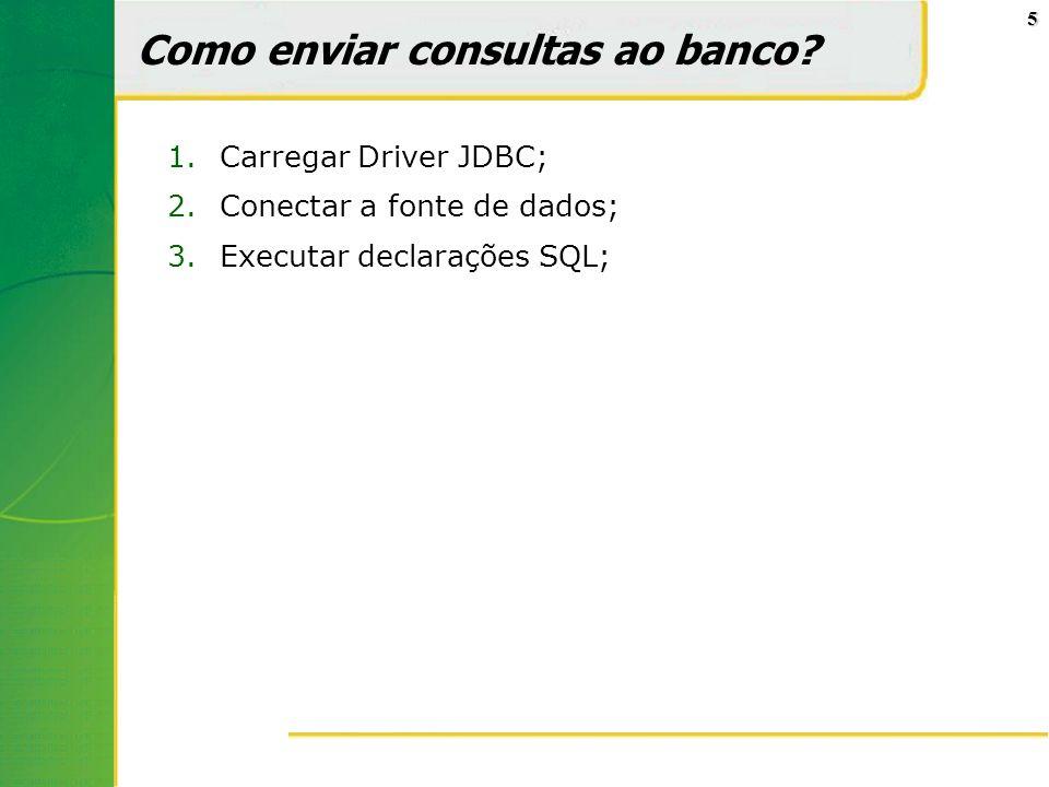 5 Como enviar consultas ao banco? 1.Carregar Driver JDBC; 2.Conectar a fonte de dados; 3.Executar declarações SQL;